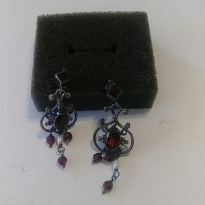 Antique sterling Silver and Garnett Drop Earrings